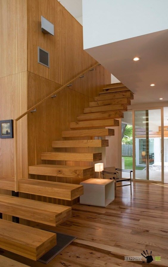 Wooden handrails for stairs in different size